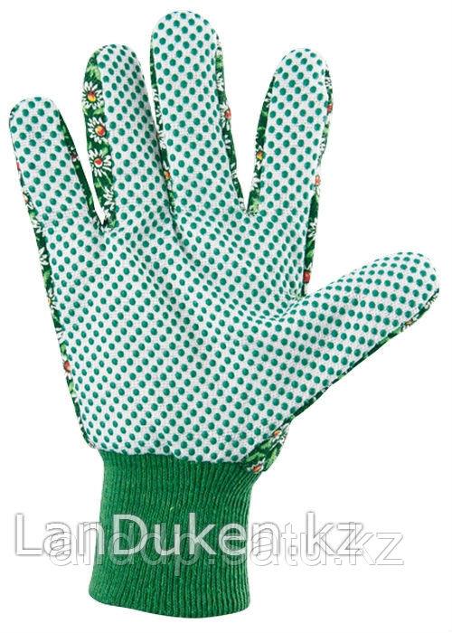 Перчатки садовые х/б ткань с ПВХ точкой манжет M PALISAD 67762 (002)
