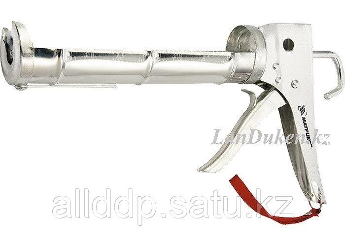"Пистолет для герметика 310 мл ""полуоткрытый"" хромир. зубчатый шток 7 мм MATRIX 88640 (002)"