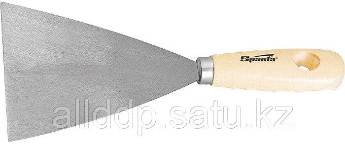 Шпательная лопатка из нержавеющей стали 100 мм деревянная ручка Sparta 852185 (002)