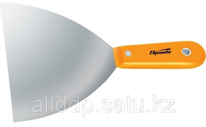 Шпательная лопатка стальная 100 мм полированная с пластмассовой ручкой Sparta 852425 (002)