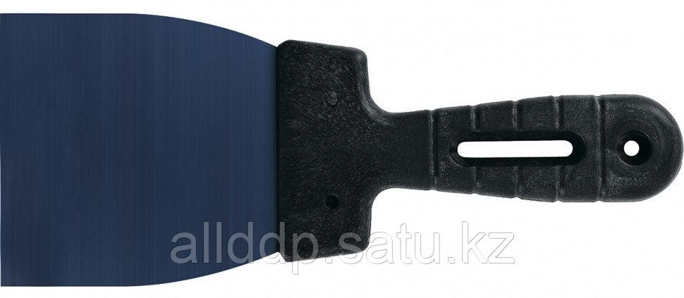 Шпательная лопатка из колоризованной пружинной стали 65Г 80 мм пластмассовая ручка Сибртех 85562 (002)