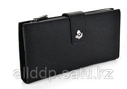 Винтажный черный кошелек визитница на магнитной кнопке