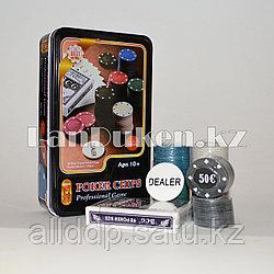 Покерный набор Professional Game Poker Chips (100 фишек с номиналом, 1 колода карт)