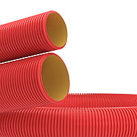 Двустенная труба ПНД гибкая для каб. канализации д,110мм с протяж,SN8, в бухте 50 м, цвет красный