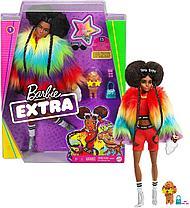 Кукла Барби Экстра афроамериканка в цветной шубе