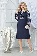Женское осеннее шифоновое большого размера платье Ninele 2281 синий_пионы 48р.