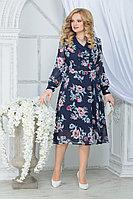 Женское осеннее шифоновое большого размера платье Ninele 7312 синий_пионы 48р.