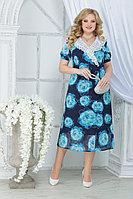 Женское летнее шифоновое большого размера платье Ninele 7319 бирюзовые розы 52р.