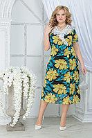 Женское летнее шифоновое большого размера платье Ninele 7319 желтые ромашки 52р.