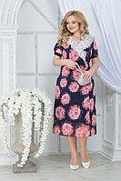 Женское летнее шифоновое большого размера платье Ninele 7319 красные розы 52р.