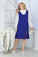 Женский осенний шифоновый синий большого размера комплект с платьем Ninele 2288 василек 52р.