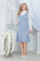 Женский осенний шифоновый голубой большого размера комплект с платьем Ninele 2288 голубой 52р.