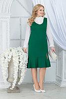 Женский осенний шифоновый зеленый большого размера комплект с платьем Ninele 2288 изумруд 52р.