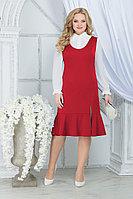 Женский осенний шифоновый красный большого размера комплект с платьем Ninele 2288 красный 52р.