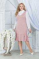 Женский осенний шифоновый розовый большого размера комплект с платьем Ninele 2288 пудра 52р.