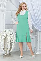 Женский осенний шифоновый зеленый большого размера комплект с платьем Ninele 2288 светло-зеленый 52р.