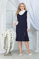 Женский осенний шифоновый синий большого размера комплект с платьем Ninele 2288 синий 52р.