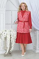 Женский осенний шифоновый красный большого размера комплект с платьем Ninele 5828 малина 52р.