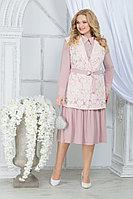 Женский осенний шифоновый розовый большого размера комплект с платьем Ninele 5828 пудра 52р.
