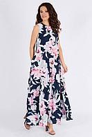 Женское летнее шифоновое большого размера платье Teffi Style L-1390 цветы_на_синем 46р.