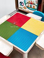 Многофункциональный развивающий стол LEGO + LEGO DUPLO с двумя стульчиками и двумя рабочими поверхностями
