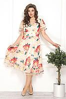 Женское летнее шифоновое нарядное большого размера платье Solomeya Lux 790/1 52р.