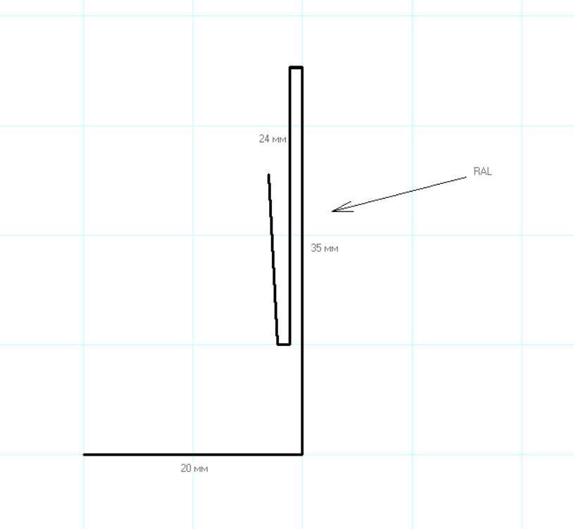 Планка аквилона малая 35х20х3000мм Глянец МП