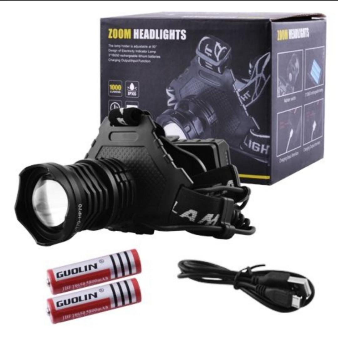 Налобный аккумуляторный светодиодный фонарь T70P70