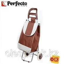 Сумка-тележка хозяйственная на 30 кг, коричневая, полоска, PERFECTO LINEA