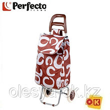 Сумка-тележка хозяйственная на 30 кг, коричневая, круги, PERFECTO LINEA