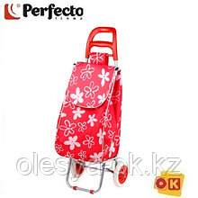 Сумка-тележка хозяйственная на 30 кг, красная, цветы, PERFECTO LINEA