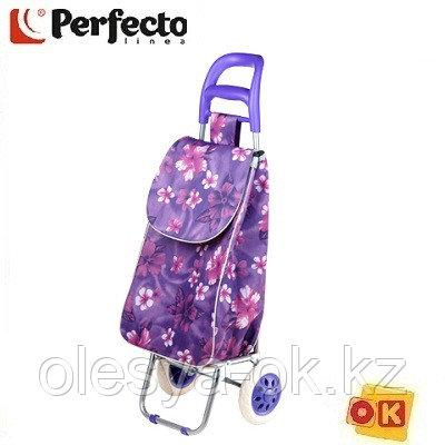 Сумка-тележка хозяйственная на 30 кг, фиолетовая, цветы, PERFECTO LINEA