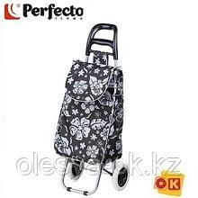 Сумка-тележка хозяйственная на 30 кг, черная, цветы, PERFECTO LINEA