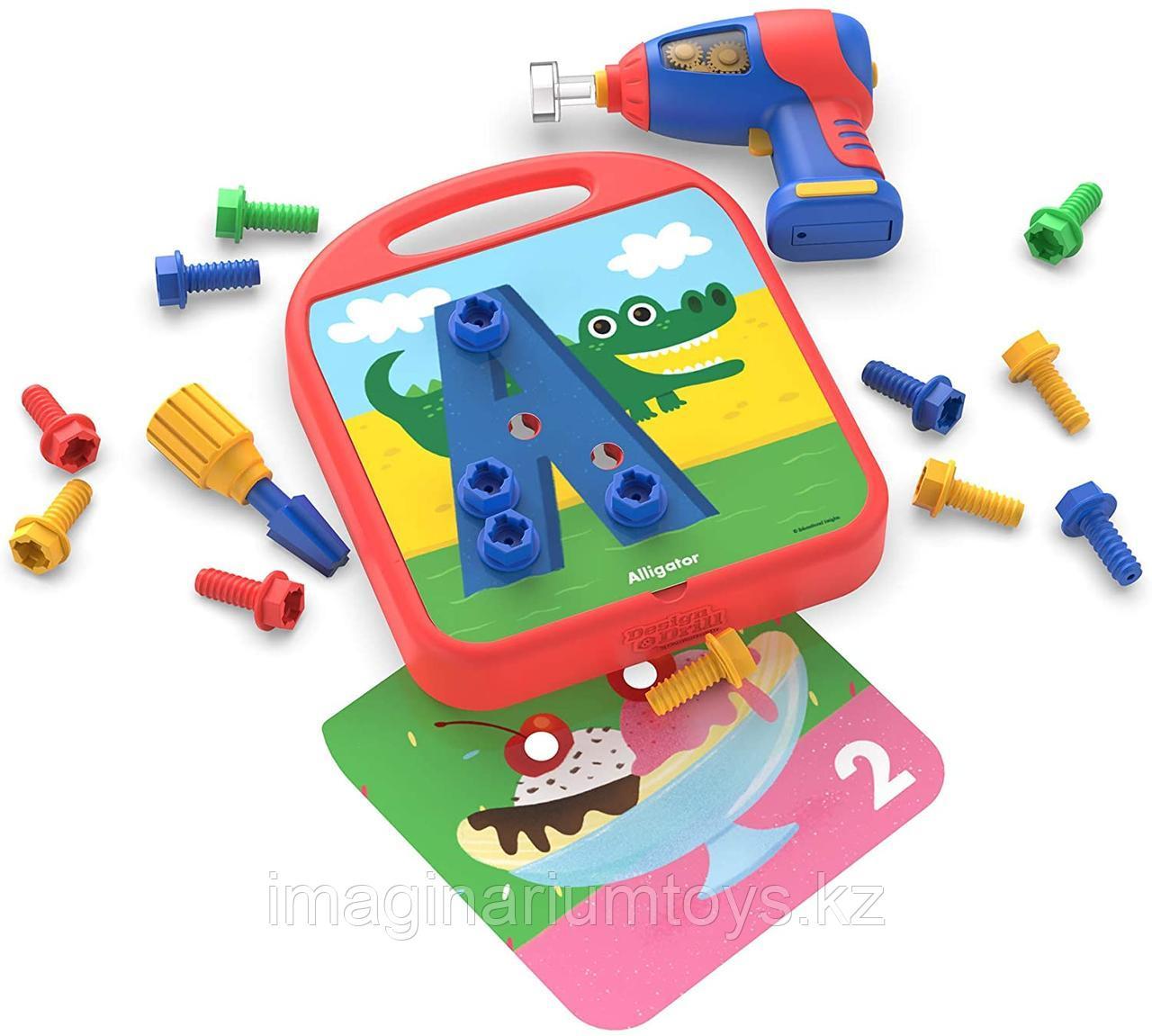Развивающий игровой набор с дрелью «Закручивай и учись. Буквы, числа, цвета» Design&Drill