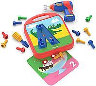 Развивающий игровой набор с дрелью «Закручивай и учись. Буквы, числа, цвета» Design&Drill, фото 1