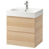 Шкаф для раковины ГОДМОРГОН/БРОВИКЕН с 2 ящ. под беленый 61x49x68 см ИКЕА, IKEA