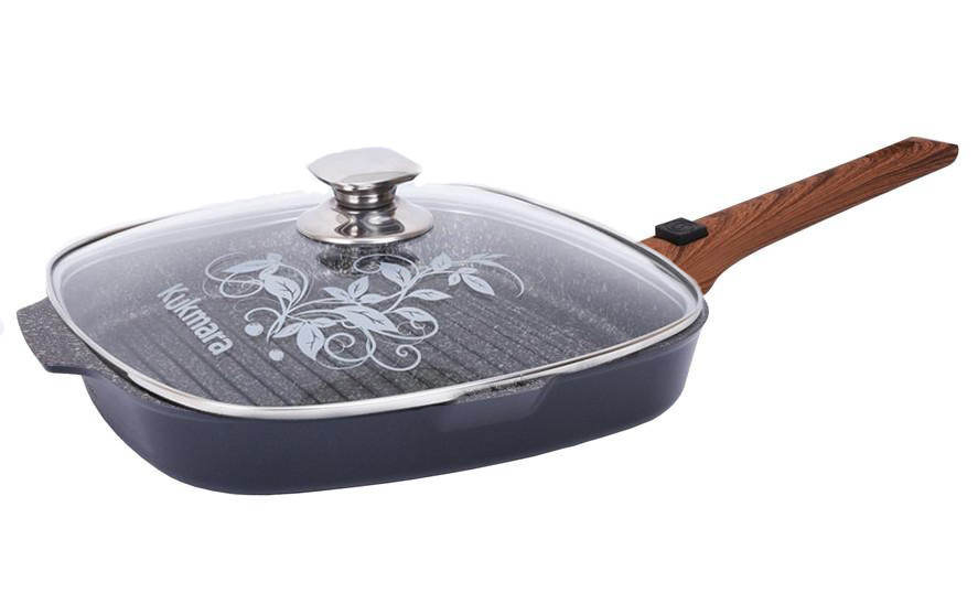 """Сковорода-гриль 280х280мм со съемн. ручкой, ст. крышка, """"Granit ultra"""""""