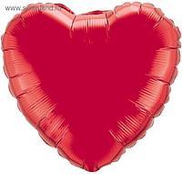 """Шар фольгированный 32"""" «Сердце» без рисунка, металл, цвет красный"""