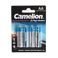 Батарейка, CAMELION, LR6-BP4DG, Digi Alkaline, AA, 1.5V, 2800mAh, 4 шт. в блистере / 12 блис. в упаковке