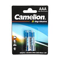 Батарейка, CAMELION, LR03-BP2DG, Digi Alkaline, AAA, 1.5V, 1250mAh, 2 шт. в блистере/12 блис. в упаковке
