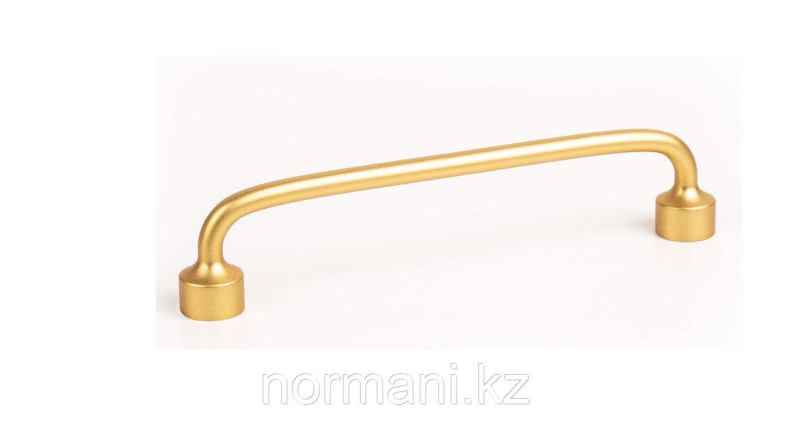 Мебельная ручка скоба, замак, размер посадки 192мм, отделка под золото шлифованное