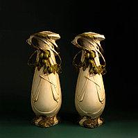 Парные вазы с оливками. Royal Dux. Фарфоровая мануфактура Royal Dux Bohemia