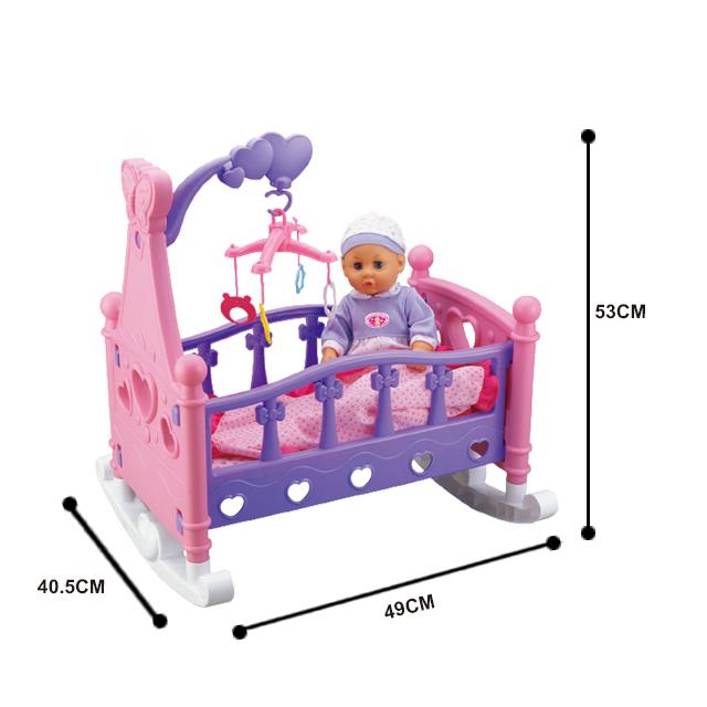 Кроватка музыкальная для кукол детская Musical Rocking Bed 8*40*56 - фото 3