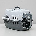 """Переноска для животных до 9 кг """"Пижон"""", металлическая дверь, 43 х 29 х 27,5 см, бело-серая"""