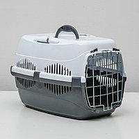 """Переноска для животных до 9 кг """"Пижон"""", металлическая дверь, 43 х 29 х 27,5 см, бело-серая, фото 1"""