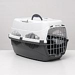 """Переноска для животных до 12 кг """"Пижон"""" 49х33х32см, металлическая дверь, бело-серая"""