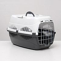 """Переноска для животных до 12 кг """"Пижон"""" 49х33х32см, металлическая дверь, бело-серая, фото 1"""