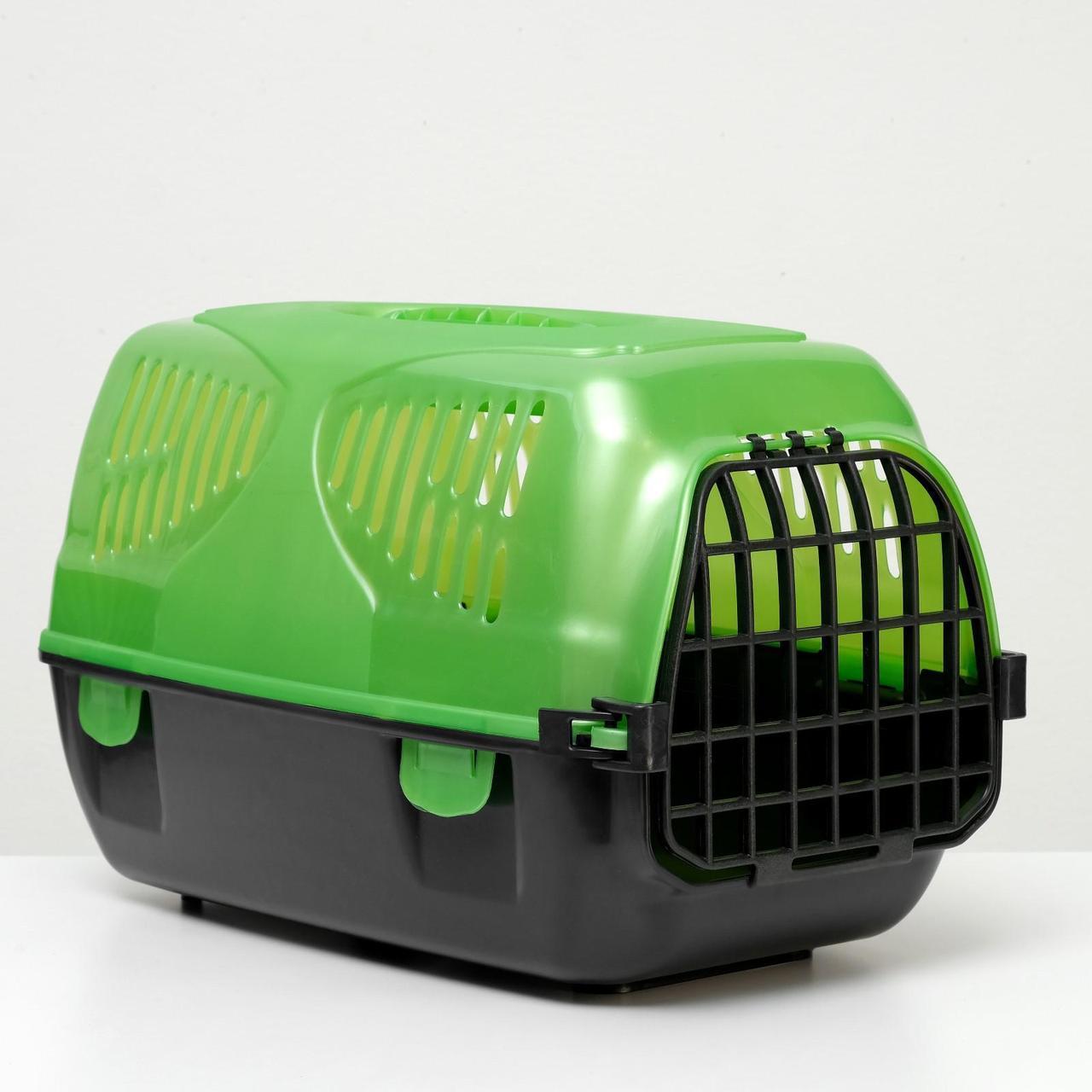 "Переноска для животных ""Сириус"" 33,5 х 31 х 50 см, цвет зеленый перламутр"