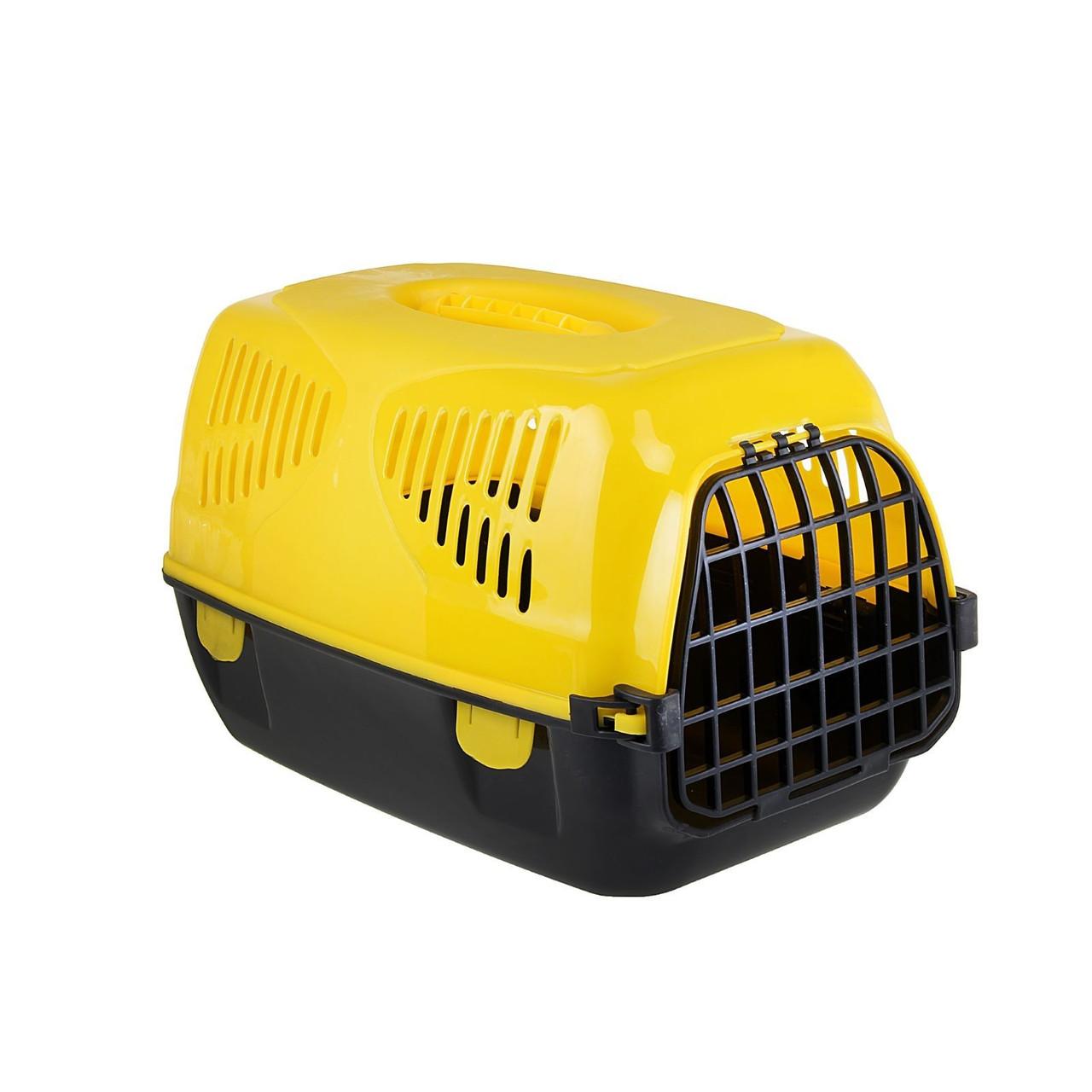 "Переноска для животных ""Сириус"" 33,5 х 31 х 50 см, цвет желтый"