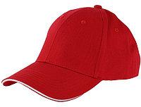 Бейсболки 6-панельные, 100% хлопок, красная